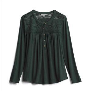 Almera Lace Detail Knit Henley Top XL